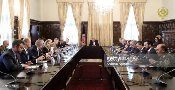 United States Secretary of Defense James Mattis meets Afghan president Mohammad Ashraf Ghani in Kabul Afghanistan on April 24 2017