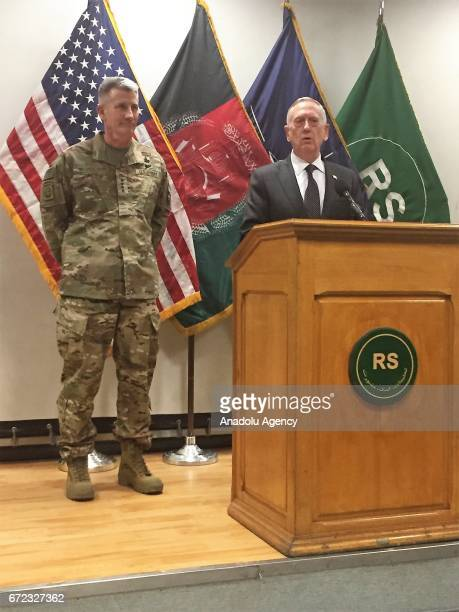 United States Secretary of Defense James Mattis speaks to press after his meeting with Afghan president Mohammad Ashraf Ghani in Kabul Afghanistan on...