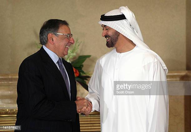 United States Secretary of Defense Leon Panetta poses for a photo with Crown Prince of Abu Dhabi Mohamed bin Zayed Al Nahyan before the two sat for...