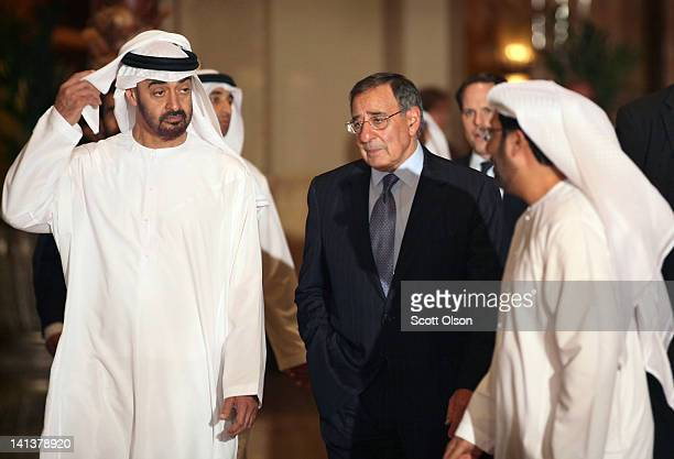 United States Secretary of Defense Leon Panetta talks with Crown Prince of Abu Dhabi Mohammed bin Zayed Al Nahyan as they walk to dinner at the...