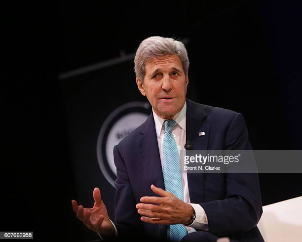 United States Secretary of State John F Kerry speaks on stage during the 2016 Social Good Summit held at the 92nd Street Y on September 18 2016 in...