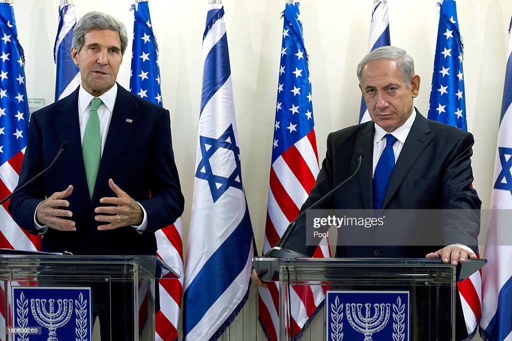 United States Secretary of State <a gi-track='captionPersonalityLinkClicked' href=/galleries/search?phrase=John+Kerry&family=editorial&specificpeople=154885 ng-click='$event.stopPropagation()'>John Kerry</a> (L) and Israeli Prime Minister <a gi-track='captionPersonalityLinkClicked' href=/galleries/search?phrase=Benjamin+Netanyahu&family=editorial&specificpeople=118594 ng-click='$event.stopPropagation()'>Benjamin Netanyahu</a> give a press statement after their lengthly meeting in the prime minister's Jerusalem offices, September 15, 2013 in Jerusalem, Israel. The two discussed the need to remove all of Syria's chemical weapons, and the need to progress with the Middle East peace process with the Palestinians, something Kerry said he would do without talking about it until the end of the process. Most of the statements by both leaders dealt with Syria and their use of chemical weapons.