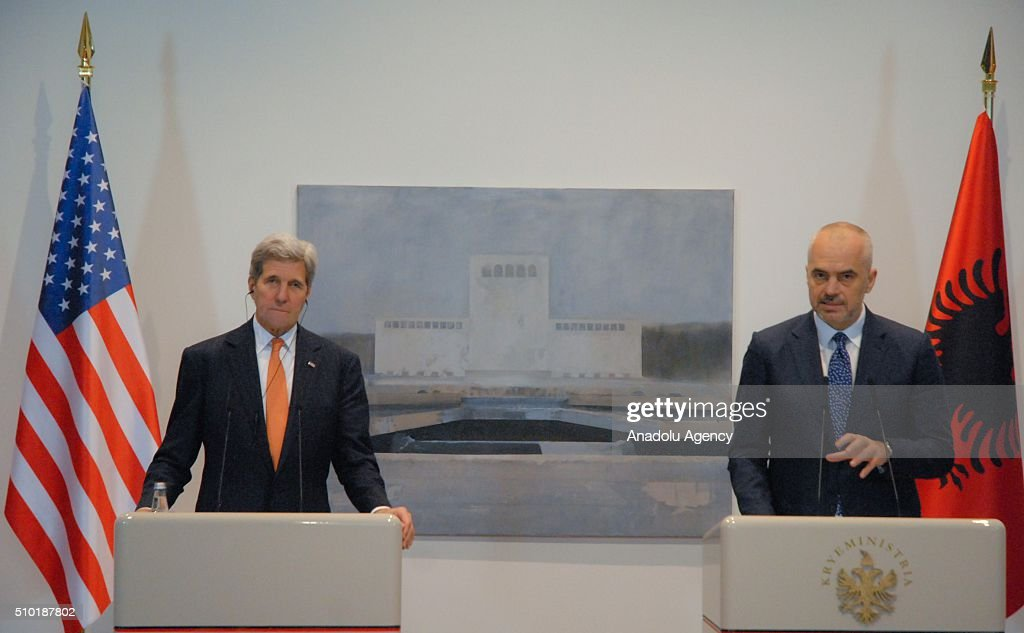 United States Secretary of State John Kerry (L) and Prime Minister of Albania Edi Rama (R) hold a joint press conference following their meeting, in Tirana, Albania on February 14, 2016.