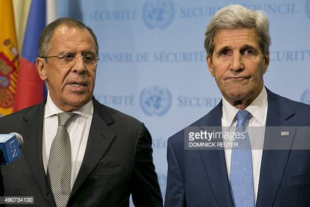 United States Secretary of State John Kerry and Russia Foreign Minister Sergey Lavrov speak to the media after a meeting concerning Syria at the...