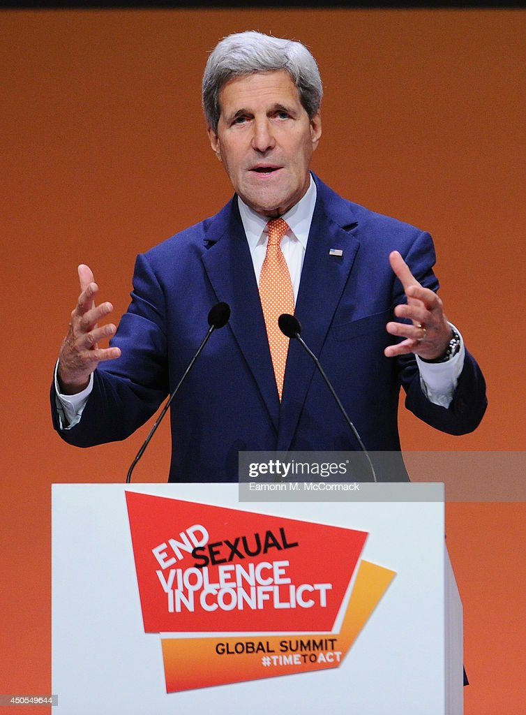 United States Secretary of State John Kerry attends the Global Summit to End Sexual Violence in Conflict at ExCel on June 13, 2014 in London, England. The four-day conference on sexual violence in war is hosted by Foreign Secretary William Hague and UN Special Envoy and actress Angelina Jolie