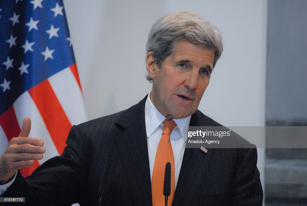 United States Secretary of State John Kerry gestures during a joint press conference with Prime Minister of Albania Edi Rama (not seen), following their meeting, in Tirana, Albania on February 14, 2016.