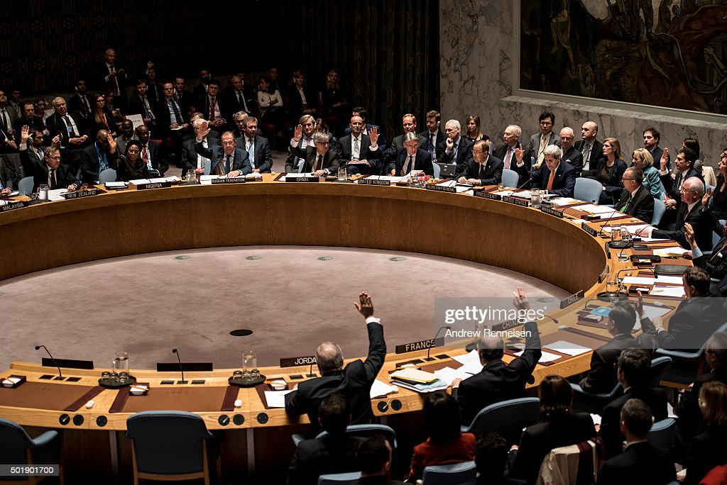 United States Secretary of State John Kerry leads a security council resolution on the situation in Syria on December 18 2015 at United Nations...