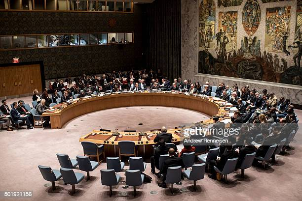 United States Secretary of State John Kerry leads a security council meeting on the situation in Syria on December 18 2015 at United Nations...