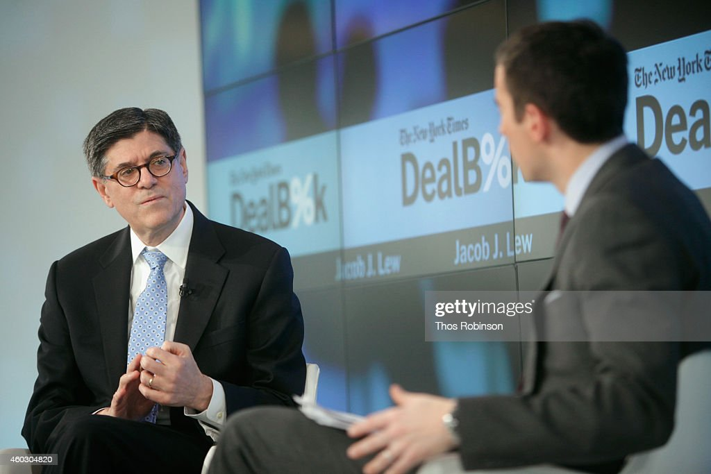 United States Secretary of the Treasury Jacob J. Lew (L) and DealBook founder and editor-at-large Andrew Ross Sorkin speak onstage during The New York Times DealBook Conference at One World Trade Center on December 11, 2014 in New York City.