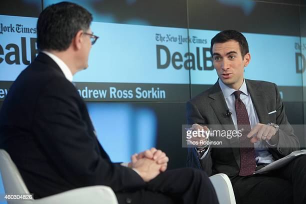 United States Secretary of the Treasury Jacob J Lew and DealBook founder and editoratlarge Andrew Ross Sorkin speak onstage during The New York Times...