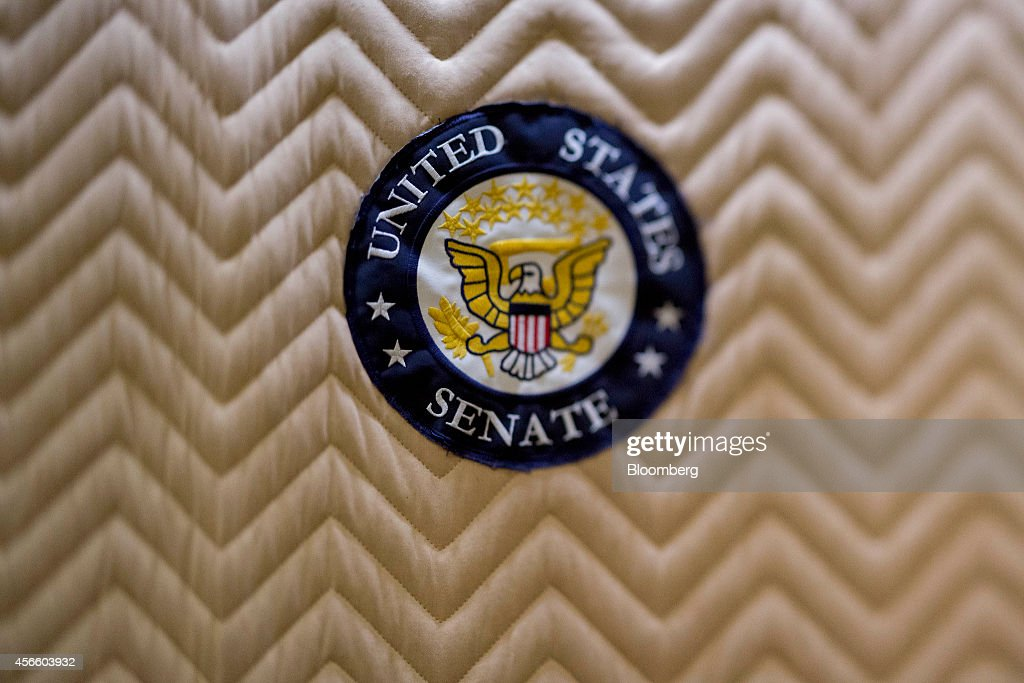 A United States Senate badge is seen inside an elevator inside the US Capitol Building in this photo taken with a tiltshift lens in Washington DC US...