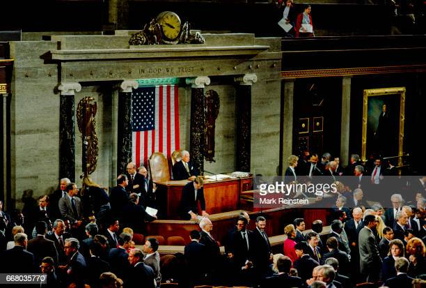 United States Senate Chambers the members wait for President George HW Bush's arrival into the United States Senate Chambers to speak before a joint...