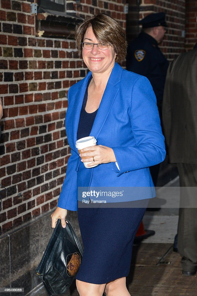 United States Senator Amy Klobuchar (Democrat-Minnesota) enters the 'The Late Show With Stephen Colbert' taping at the Ed Sullivan Theater on November 9, 2015 in New York City.