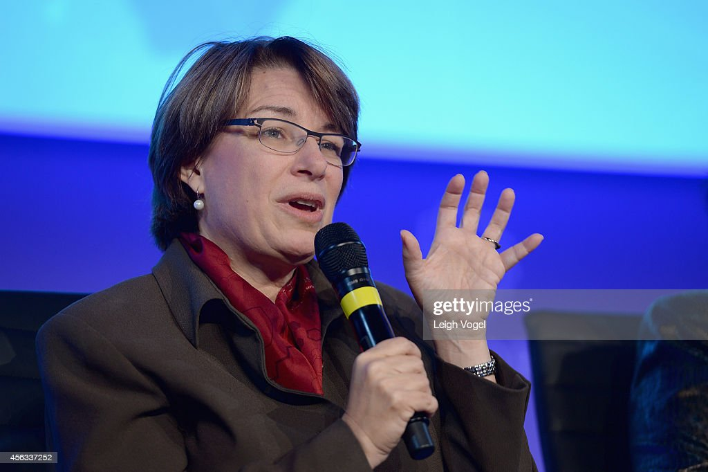 United States Senator <a gi-track='captionPersonalityLinkClicked' href=/galleries/search?phrase=Amy+Klobuchar&family=editorial&specificpeople=3959717 ng-click='$event.stopPropagation()'>Amy Klobuchar</a>, speaks onstage at the 2014 Concordia Summit - Day 1 at Grand Hyatt New York on September 29, 2014 in New York City.