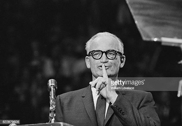 United States Senator and nominee for president Barry Goldwater speaking at an election rally in Madison Square Garden New York City USA 28th October...
