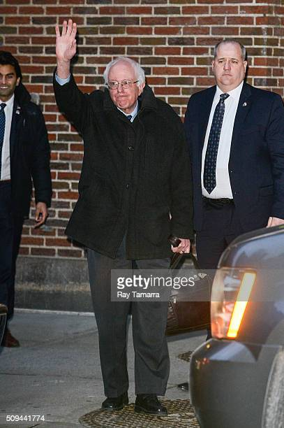 United States Senator Bernie Sanders enters 'The Late Show With Stephen Colbert' taping at the Ed Sullivan Theater on February 10 2016 in New York...