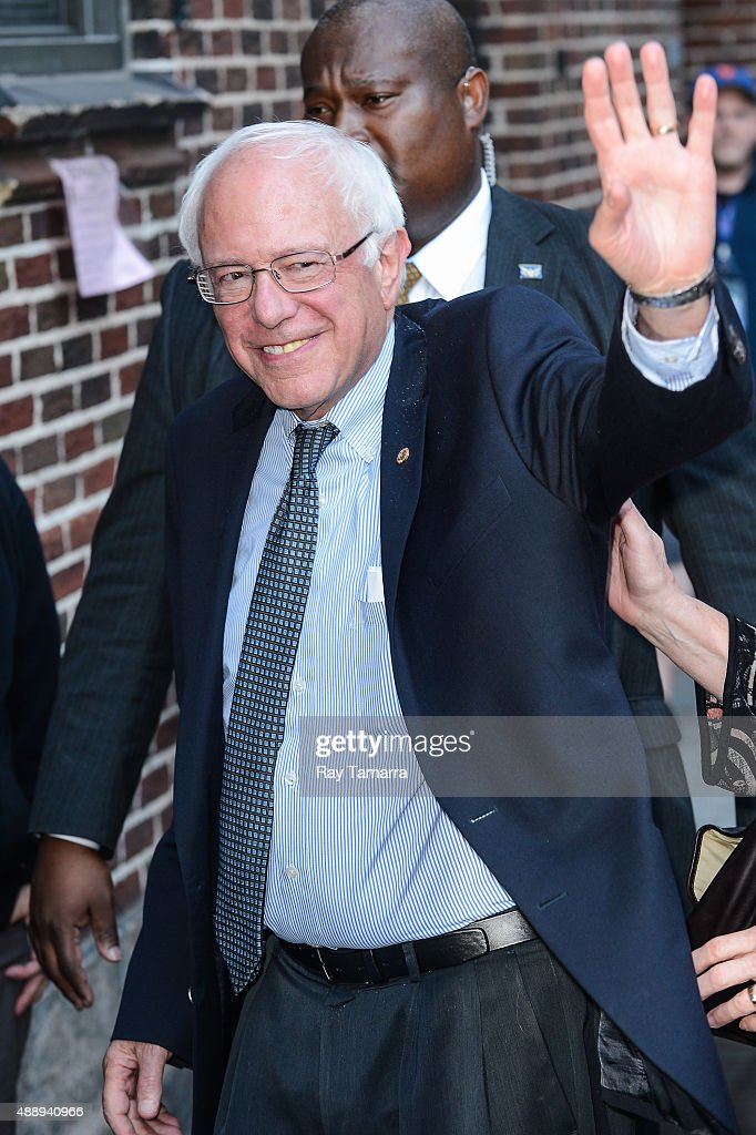 United States Senator <a gi-track='captionPersonalityLinkClicked' href=/galleries/search?phrase=Bernie+Sanders&family=editorial&specificpeople=2908340 ng-click='$event.stopPropagation()'>Bernie Sanders</a> enters the 'The Late Show With Stephen Colbert' taping at the Ed Sullivan Theater on September 18, 2015 in New York City.