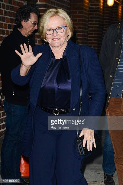 United States Senator Claire McCaskill enters the 'The Late Show With Stephen Colbert' taping at the Ed Sullivan Theater on November 9 2015 in New...