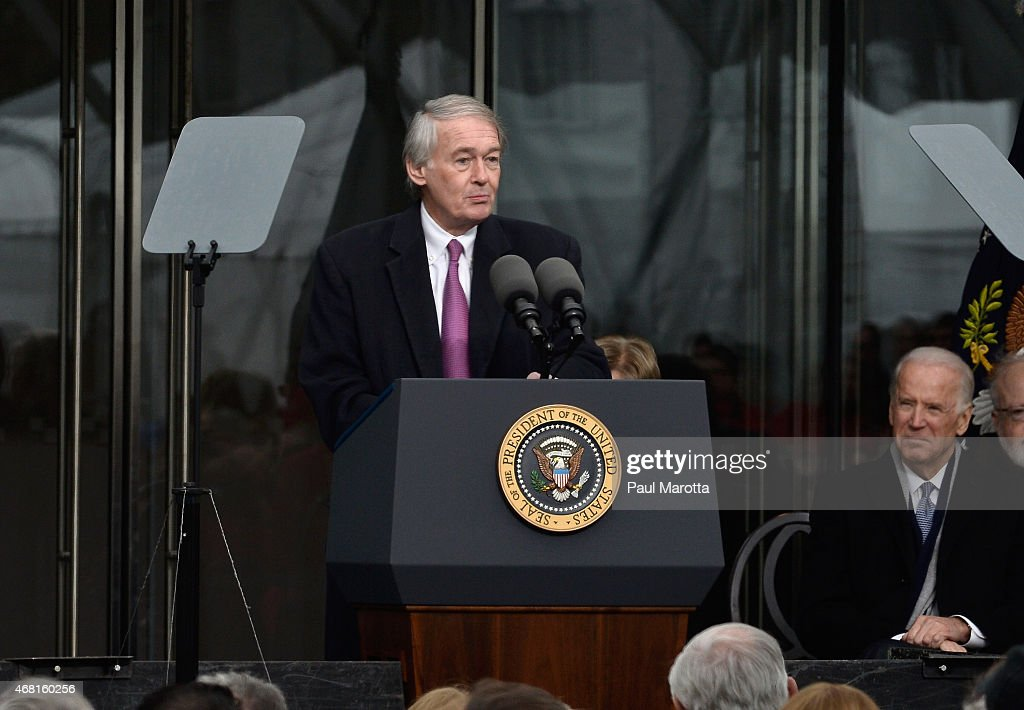 United States Senator <a gi-track='captionPersonalityLinkClicked' href=/galleries/search?phrase=Edward+Markey&family=editorial&specificpeople=630856 ng-click='$event.stopPropagation()'>Edward Markey</a> speaks at the Dedication Ceremony at the Edward M. Kennedy Institute for the United States Senate on March 30, 2015 in Boston, Massachusetts.