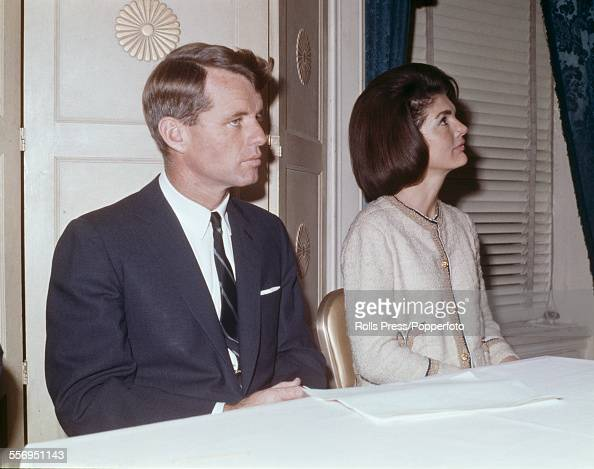 United States Senator elect Robert F Kennedy pictured together with his sister in law Jacqueline Kennedy widow of assassinated President John F...
