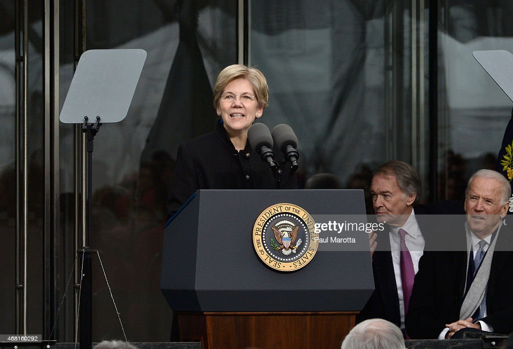 United States Senator <a gi-track='captionPersonalityLinkClicked' href=/galleries/search?phrase=Elizabeth+Warren&family=editorial&specificpeople=5396017 ng-click='$event.stopPropagation()'>Elizabeth Warren</a> speaks at the Dedication Ceremony at the Edward M. Kennedy Institute for the United States Senate on March 30, 2015 in Boston, Massachusetts.