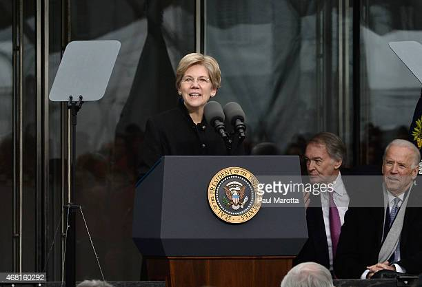 United States Senator Elizabeth Warren speaks at the Dedication Ceremony at the Edward M Kennedy Institute for the United States Senate on March 30...