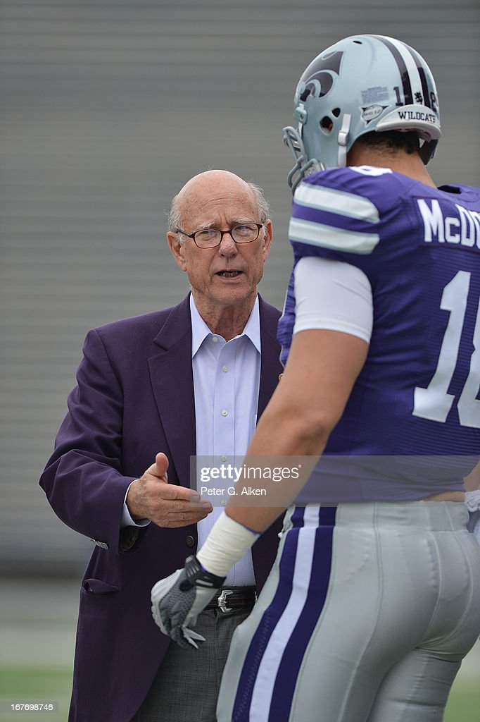 United States Senator from Kansas Pat Roberts (left) talks with tight end Andre McDonald #18 of the Kansas State Wildcats before the Purple and White Spring Game on April 27, 2013 at Bill Snyder Family Stadium in Manhattan, Kansas.