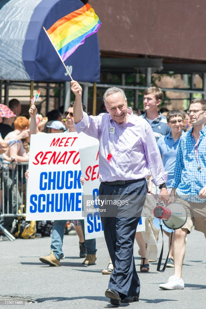 United States Senator from New York Chuck Schumer attends The March during NYC Pride 2013 on June 30, 2013 in New York City.