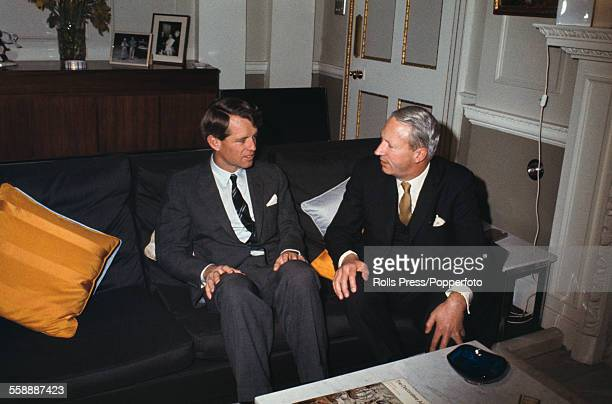 United States Senator from New York Robert F Kennedy pictured with British politician and Leader of the Conservative Party Edward Heath at an...