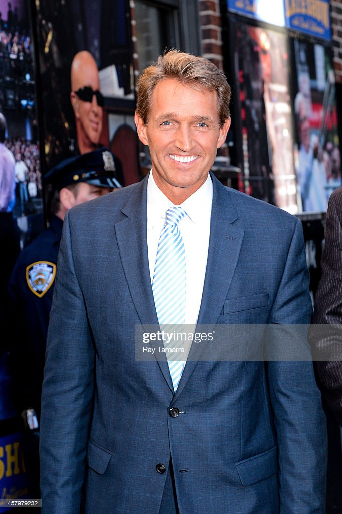 United States Senator <a gi-track='captionPersonalityLinkClicked' href=/galleries/search?phrase=Jeff+Flake&family=editorial&specificpeople=2474871 ng-click='$event.stopPropagation()'>Jeff Flake</a> (R-Arizona) enters the 'Late Show With David Letterman' taping at the Ed Sullivan Theater on October 27, 2014 in New York City.
