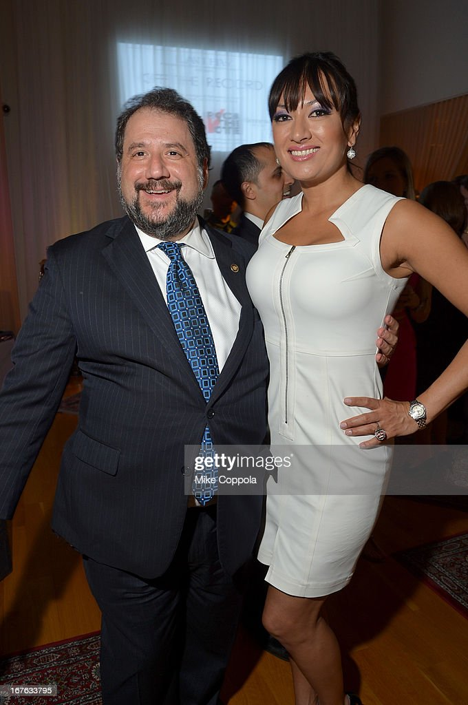 United States Senator Paul Strauss (L) and President and CEO of Lanmark Technology inc. Lani Hay attend the Celebrating The Arts In American Dinner Party With Distinguished Women In Media Presented By Landmark Technology Inc. And The Creative Coalition at Neyla on April 26, 2013 in Washington, DC.