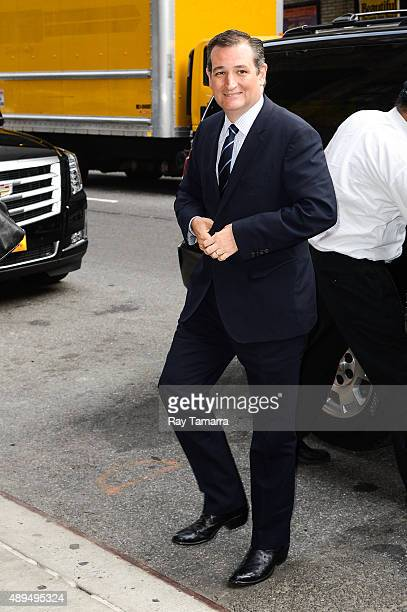 United States Senator Ted Cruz enters the 'The Late Show With Stephen Colbert' taping at the Ed Sullivan Theater on September 21 2015 in New York City