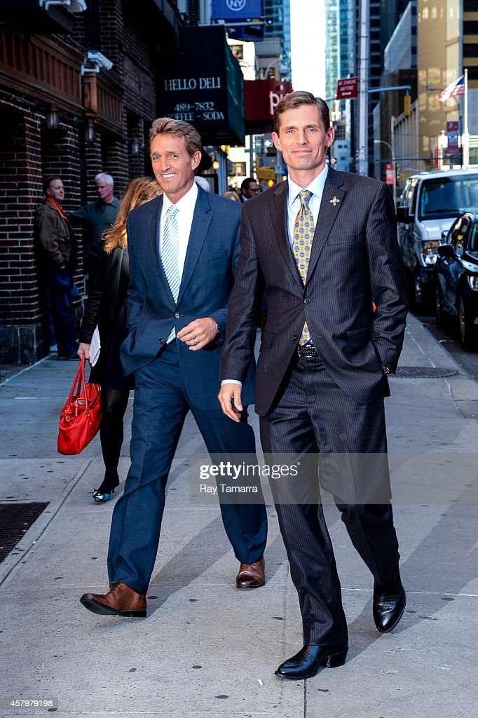 United States Senators <a gi-track='captionPersonalityLinkClicked' href=/galleries/search?phrase=Jeff+Flake&family=editorial&specificpeople=2474871 ng-click='$event.stopPropagation()'>Jeff Flake</a> (R-Arizona) and <a gi-track='captionPersonalityLinkClicked' href=/galleries/search?phrase=Martin+Heinrich&family=editorial&specificpeople=5592274 ng-click='$event.stopPropagation()'>Martin Heinrich</a> (D-New Mexico) enter the 'Late Show With David Letterman' taping at the Ed Sullivan Theater on October 27, 2014 in New York City.