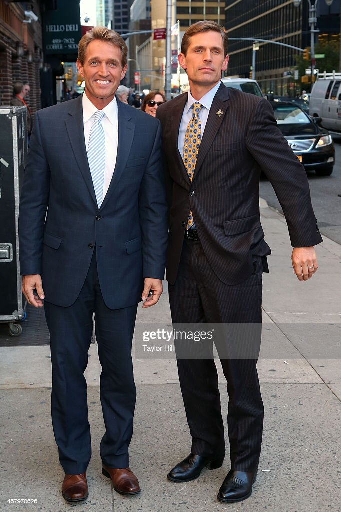 United States Senators <a gi-track='captionPersonalityLinkClicked' href=/galleries/search?phrase=Jeff+Flake&family=editorial&specificpeople=2474871 ng-click='$event.stopPropagation()'>Jeff Flake</a>, R-Arizona, and <a gi-track='captionPersonalityLinkClicked' href=/galleries/search?phrase=Martin+Heinrich&family=editorial&specificpeople=5592274 ng-click='$event.stopPropagation()'>Martin Heinrich</a>, D-New Mexico, arrive at 'Late Show with David Letterman' at Ed Sullivan Theater on October 27, 2014 in New York City.