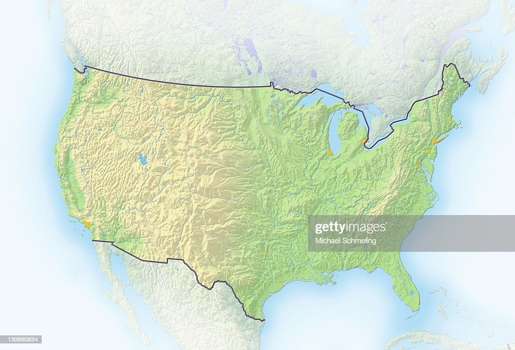 United States, shaded relief map