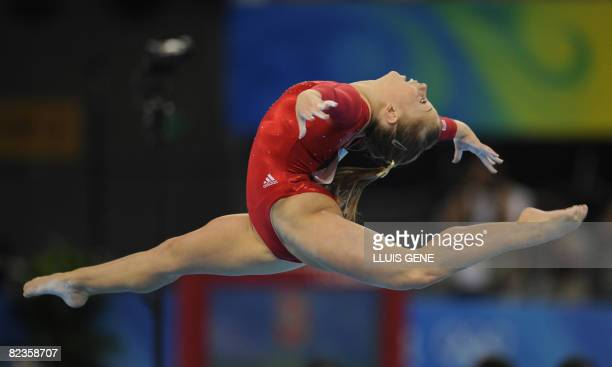 United States' Shawn Johnson competes on the floor during the women's individual allaround final of the artistic gymnastics event of the Beijing 2008...