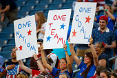United States soccer fans hold up signs as the United States takes on Sweden in the FIFA Women's World Cup Canada 2015 match at Winnipeg Stadium on...