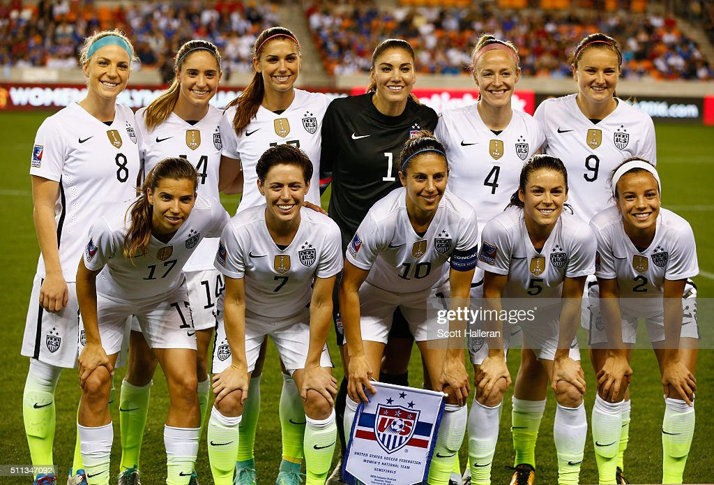 United states starters pose on the field before the start of the game
