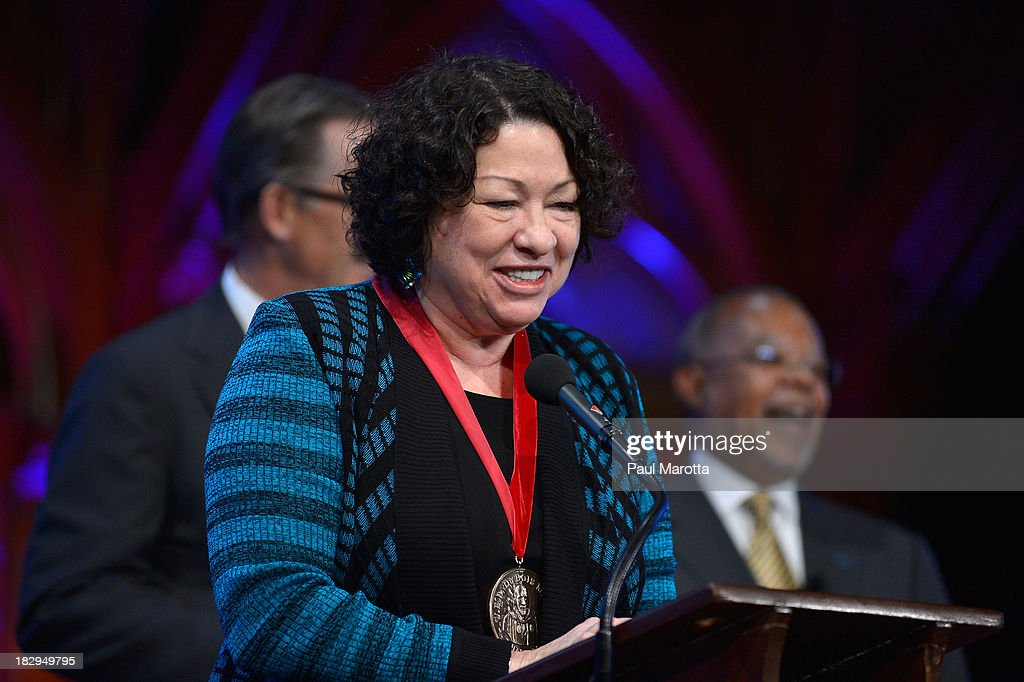 United States Supreme Court Associate Justice <a gi-track='captionPersonalityLinkClicked' href=/galleries/search?phrase=Sonia+Sotomayor&family=editorial&specificpeople=5872777 ng-click='$event.stopPropagation()'>Sonia Sotomayor</a> receives the 2013 W.E.B. Du Bois Medal at a ceremony at Harvard University's Sanders Theatre on October 2, 2013 in Cambridge, Massachusetts.