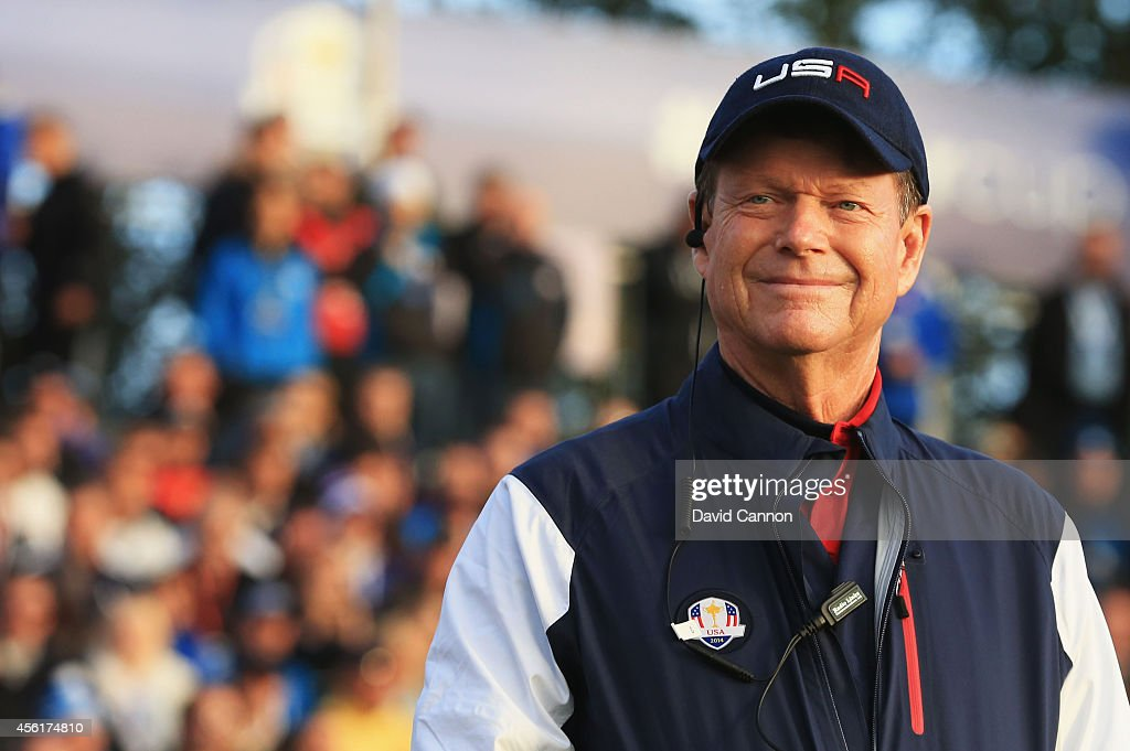 United States team captain <a gi-track='captionPersonalityLinkClicked' href=/galleries/search?phrase=Tom+Watson+-+Golf&family=editorial&specificpeople=12597942 ng-click='$event.stopPropagation()'>Tom Watson</a> smiles from the 1st tee during the Morning Fourballs of the 2014 Ryder Cup on the PGA Centenary course at the Gleneagles Hotel on September 27, 2014 in Auchterarder, Scotland.