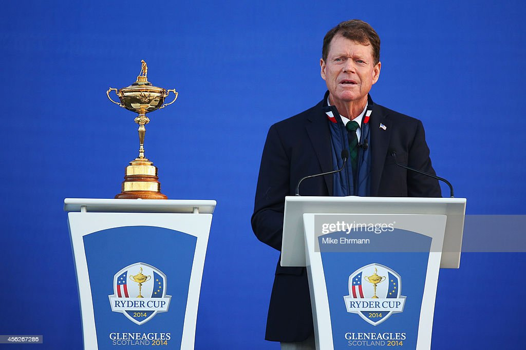 United States team captain <a gi-track='captionPersonalityLinkClicked' href=/galleries/search?phrase=Tom+Watson+-+Golfer&family=editorial&specificpeople=12597942 ng-click='$event.stopPropagation()'>Tom Watson</a> talks on stage after the Singles Matches of the 2014 Ryder Cup on the PGA Centenary course at the Gleneagles Hotel on September 28, 2014 in Auchterarder, Scotland.