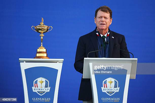 United States team captain Tom Watson talks on stage after the Singles Matches of the 2014 Ryder Cup on the PGA Centenary course at the Gleneagles...