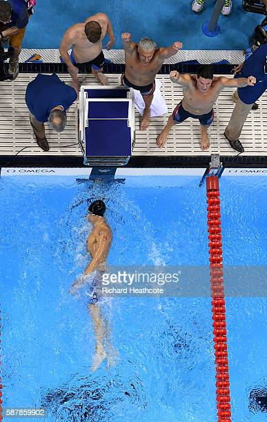 United States Team celebrate winning gold in the Men's 4 x 200m Freestyle Relay Final on Day 4 of the Rio 2016 Olympic Games at the Olympic Aquatics...