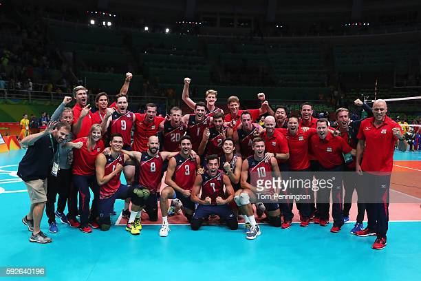 United States team celebrates as they secure the bronze medal during the Men's Bronze Medal Match between United States and Russia on Day 16 of the...