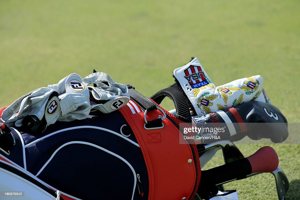 A United States team golf bag during the final day afternoon singles matches of the 2013 Walker Cup Match at The National Golf Links of America on September 8, 2013 in Southampton, New York.