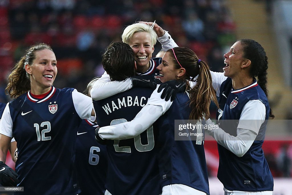 United States team mates celebrate their team's first goal during the Women's International Friendly match between Germany and the United States at Sparda-Bank-Hessen-Stadion on April 5, 2013 in Offenbach, Germany.