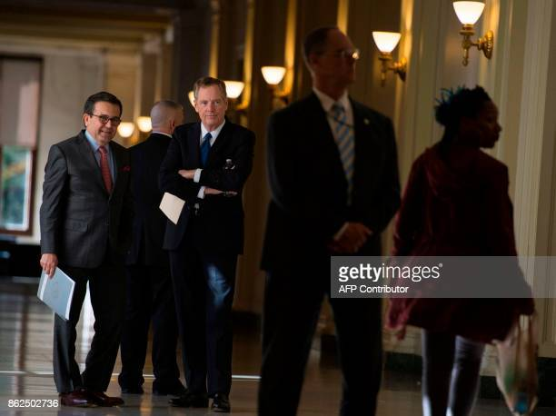 United States Trade Representative Robert Lighthizer and Mexico Secretary of Economy Ildefonso Guajardo Villarreal wait for the start of a press...