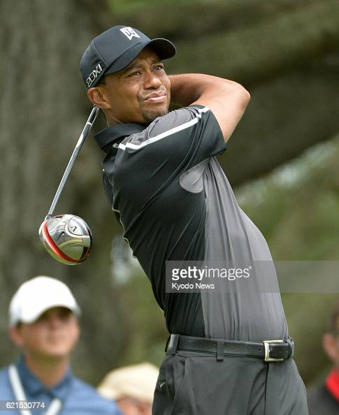 ARDMORE United States US golfer Tiger Woods plays a shot during a practice session at Merion Golf Club in Ardmore Pennsylvania on June 11 before the...
