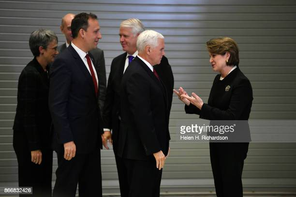 LITTLETON CO OCTOBER 26 United States Vice President Mike Pence talks with Marillyn Hewson chairman president and CEO of Lockheed Martin right before...