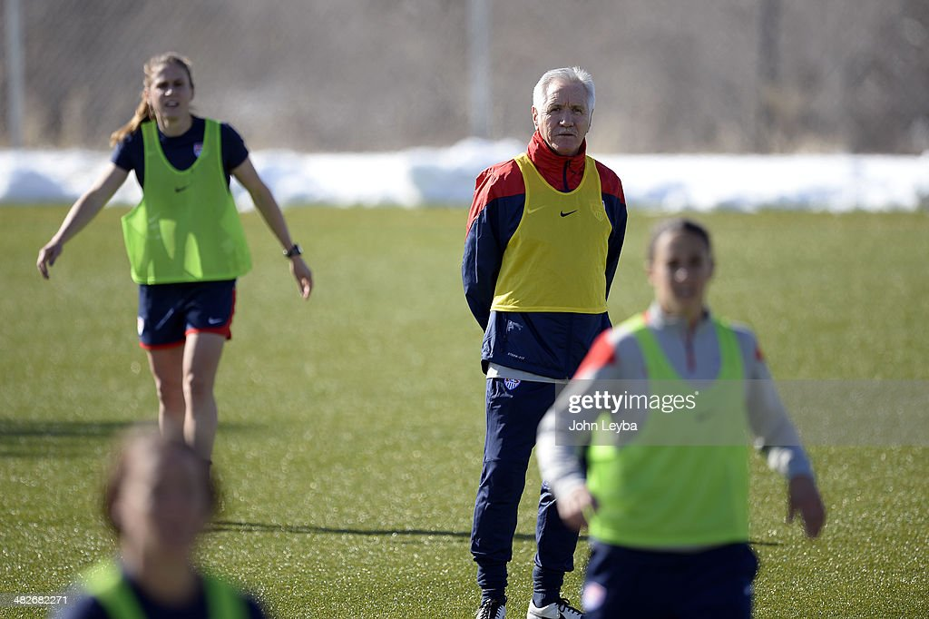 United States women's national team coach Tom Sermanni looks on as his team practices April 3 2014 at the Colorado School of Mines as they prepare...